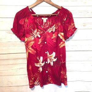 Lucky Brand Botanical Floral Print Red Top (S)